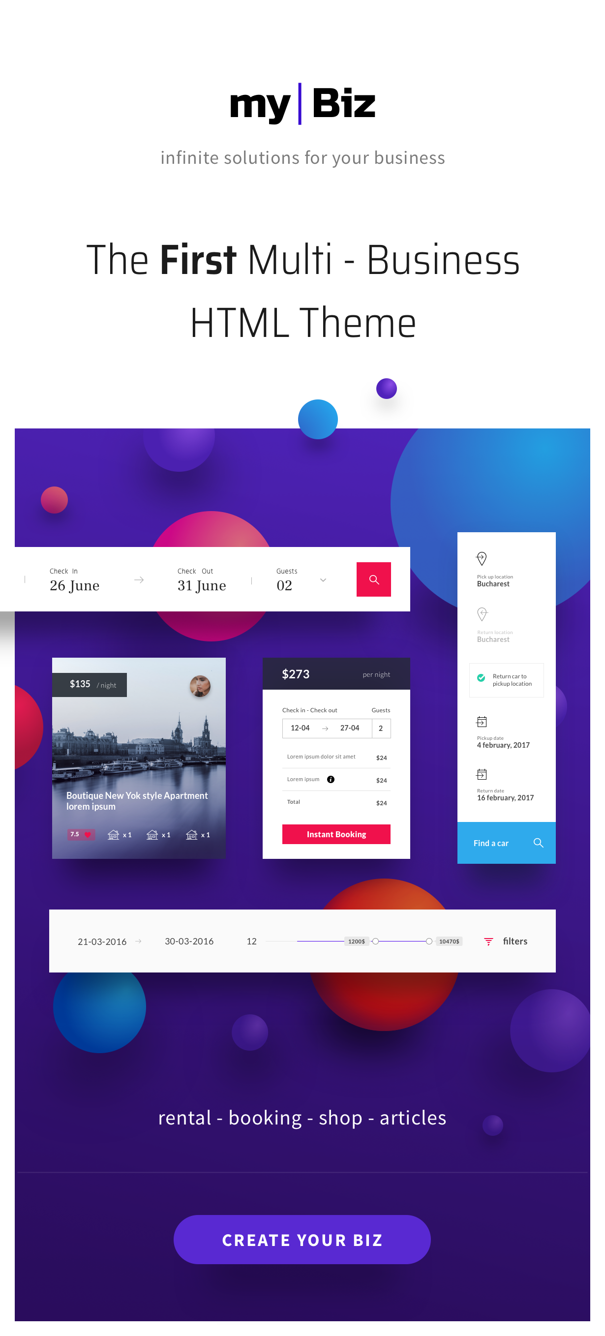 MyBiz - The First Multi-Business & Booking HTML Theme - 1