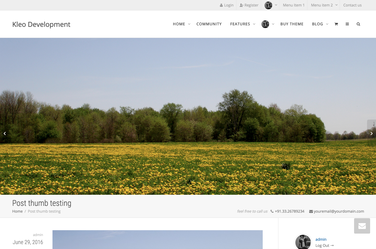 Show featured image full width before the content area